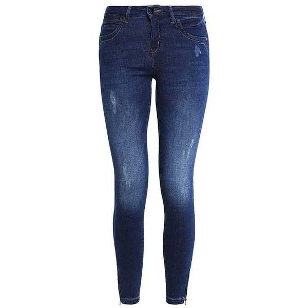 ONLKENDELL Jeans Skinny Fit dark blue denim ZALANDO ($48) ❤ liked on Polyvore featuring jeans, dark blue jeans, dark blue denim jeans, denim jeans, skinny leg jeans and deep blue jeans