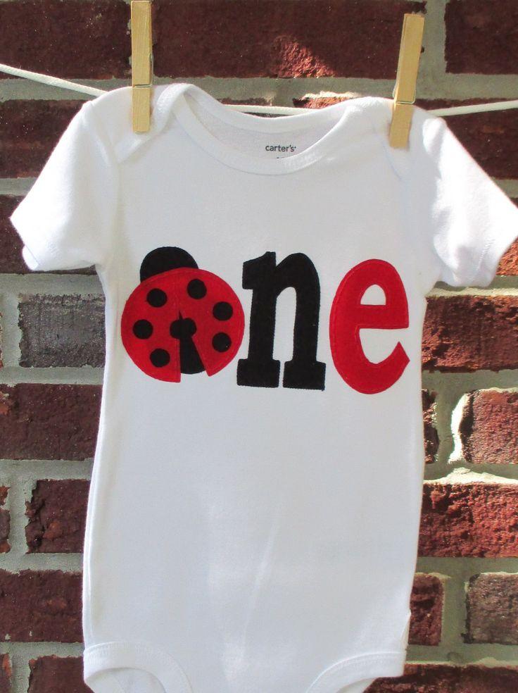 ladybug birthday shirt for girls, red and black ladybug one piece, ladybug birthday outfit, first birthday, second birthday by SewSundryCreations on Etsy