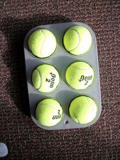 Teaching Braille using muffin tin and tennis balls