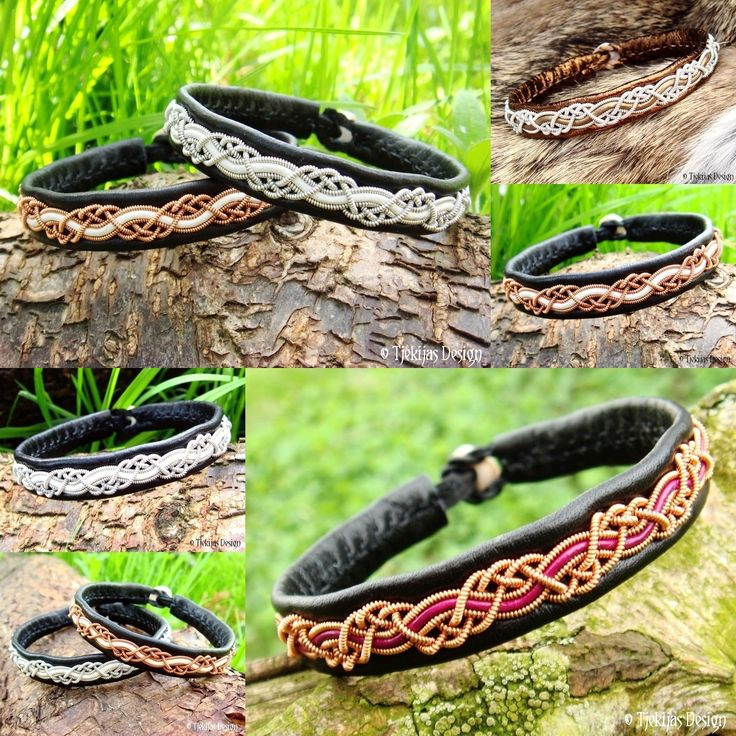HUGINN Leather Viking Bracelets Handcrafted in traditional Swedish Sami style. Tjekijas Design Collage.