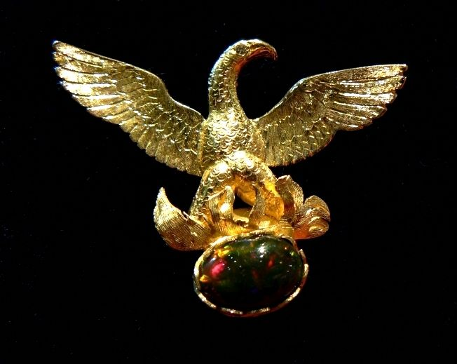 Phoenix, Fenice , gold brooche 18 kt - Dogale Jewellery Venice.