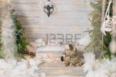 badger: at the Christmas tree toy sitting on the steps of the badger in the snow Stock Photo