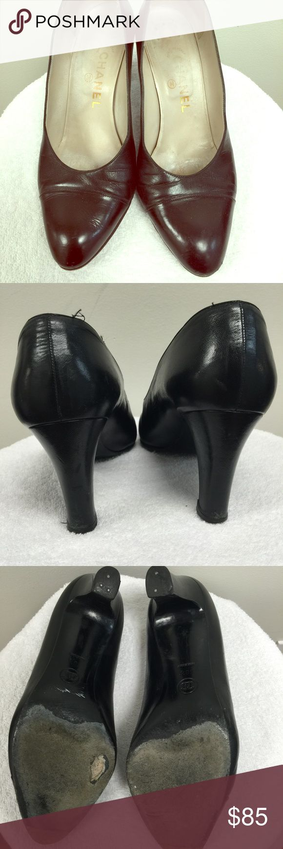 Authentic Chanel Heels These are 100% authentic. They are pretty beat up if you notice in the photos, there is a hole starting to open up on the bottom of the shoes and the heels are very worn out but nothing a cobbler can't fix. Price reflects the condition of the shoes CHANEL Shoes Heels