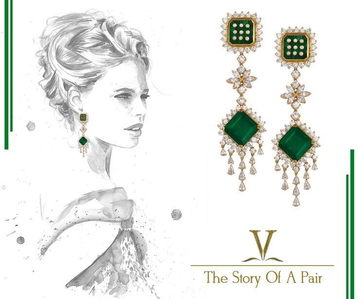 Spectacular earrings designed with diamonds & emeralds to make you look spellbound. A perfect pair to team up with your evening wear.