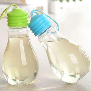 Free Shipping 300ML Cute Kids Water Bottle Light Bulb Cartoon Design Plastic Drinking Cup Sport Travel Camping Water Bottles
