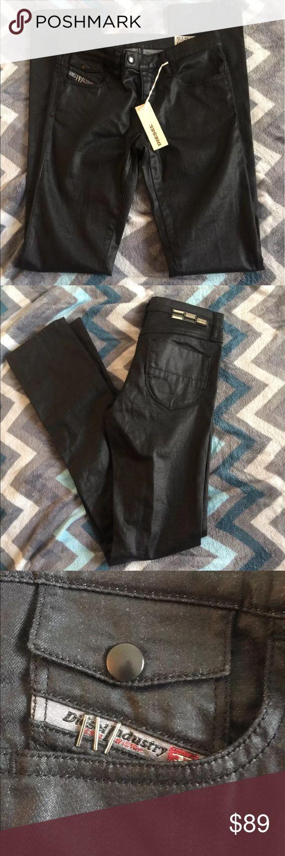 NWT Diesel Livy-biker jeans Diesel NWT Livy-biker wash 0065Q_stretch size 26 inseam 32 mid-rise dark black leather wash. Diesel Jeans Skinny