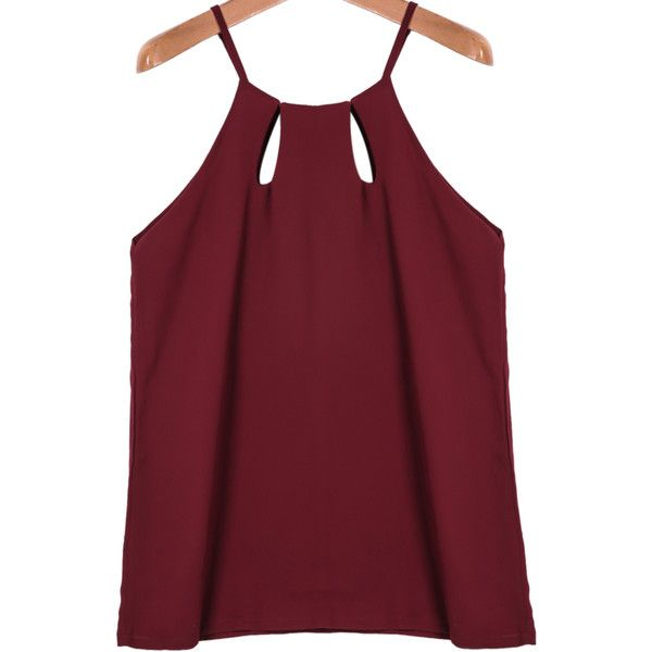 Spaghetti Strap Hollow Chiffon Cami Top featuring polyvore, fashion, clothing, tops, shirts, romwe, tanks, red, cami tank, chiffon vest, chiffon tank top, spaghetti strap shirt and chiffon top