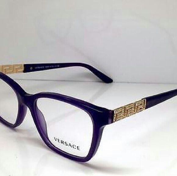 538cd07641fc Versace Eyeglasses New and Authentic Versace Eyeglasses Purple frame with  crystals on both sides Includes original case Size 52mm…