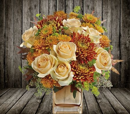 *Beautiful autumn floral arrangement* - wood, colors, roses, vases, background, autumn, flowers, floral arrangement, chrysanthemum, hq