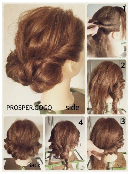 セルフヘアアレンジ初心者さんへ♡ えりあしが5㎝以上あれば、ボブの方も出来ますよ〜♡難しい工程無し!くるくるねじるだけ♪簡単セルフヘアアレンジ♪…の作り方編です♪ How tow…… 1、サイドの髪を上下に分けて、くるくるツイスト編みにしま〜す。 2、後ろの真ん中辺りまで、くるくる…。 3、ピンで固定しま〜す。 4、もう片方のサイドも、くるくる…3の毛先も一緒に巻きこんで、くるくる…。 ピンで留めてバランスを整えたら完成です♡