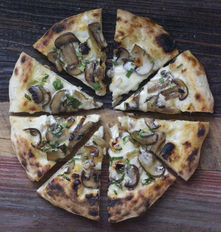 mushroom and taleggio pizza