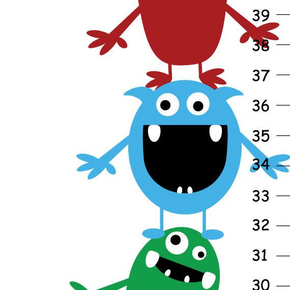 Childrens Growth Chart   Cute Little Monsters di KidOGrowthChart, $35.00