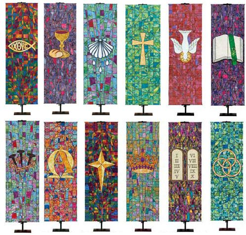 Banner designs could be adapted for stoles or vestments.