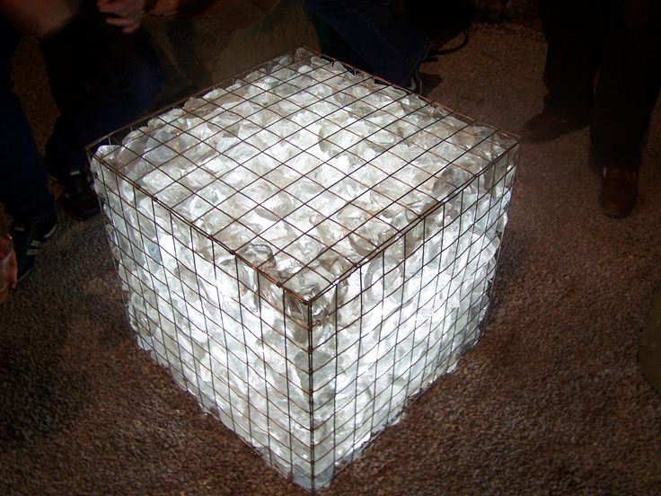 Gabion made with glass chunks, wire mesh and lit from underneath at SF garden show.