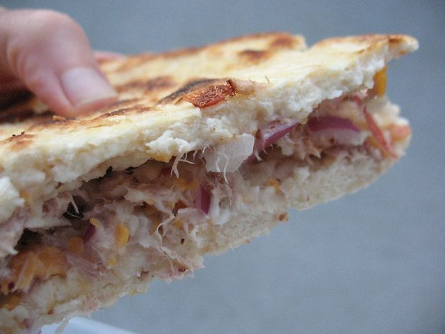 Tuna Piadina. A cupboard recipe from Jamie Oliver's Money saving meals. Delicious, Easy & fast to turn around