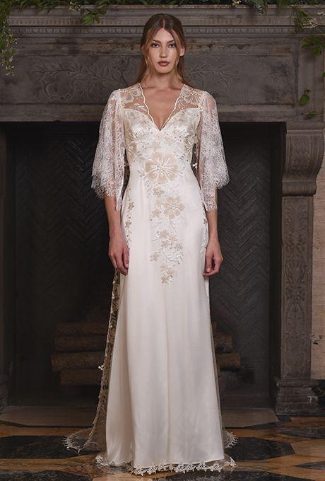 "Brides.com: . ""Reverie"" wedding dress with three-quarter flutter sleeves, Claire Pettibone"