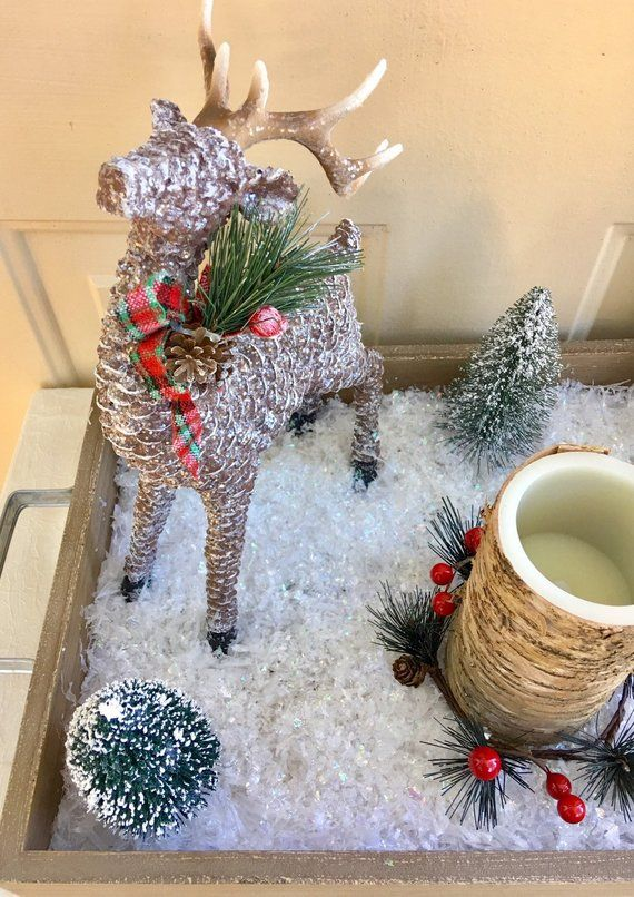 Christmas Deer Centerpiece Rustic Christmas Table Decor Etsy Christmas Table Decorations Christmas Mantle Decor Christmas Mantle