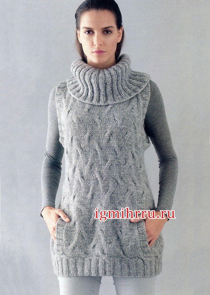 Теплый серый жилет с большим воротником и карманами. Вязание спицами