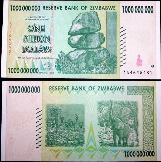 ZIMBABWE 🇿🇼 1 Billion Dollars Banknote, 2008, P-83, World Currency  | eBay