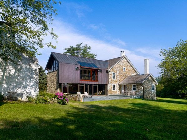 Visually Intriguing Modern Addition for 18th Century Farmhouse  #architecture