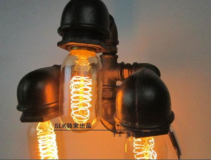 Vintage light fixtures Industrial Pipe Metal Retro Wall Sconce Steampunk Lamp Iron plumbing pipe edison light Vintage Wall Lamp