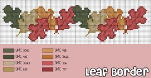 Free Fall Cross Stitch Patterns | Cross-Stitch Pattern: Autumn Leaf Border by cathartic-dream