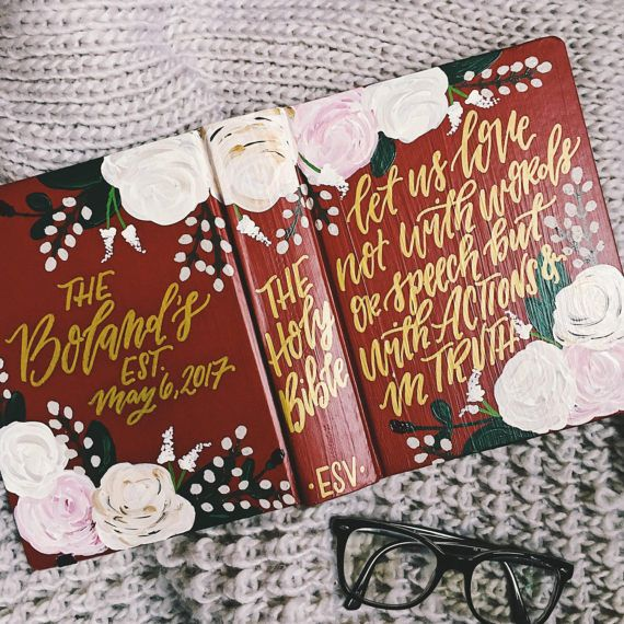 Wedding bible Hand painted bible custom by TheHipsterHousewife