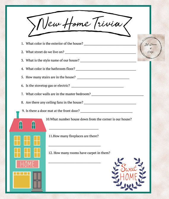House Warming Party New Home Trivia Game Instant Download For New Home Party Housewarming Party Games Housewarming Party Housewarming Party Decorations