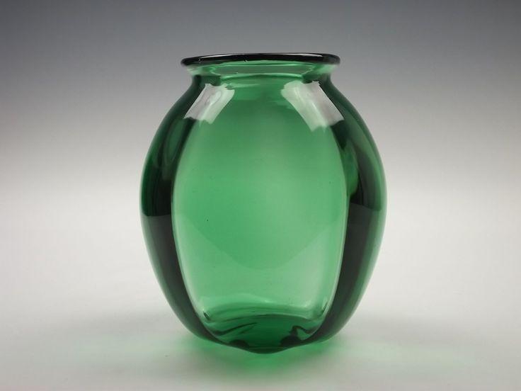 Whitefriars Wuidart & Co Wealdstone W60 1930s green optic ribbed ...