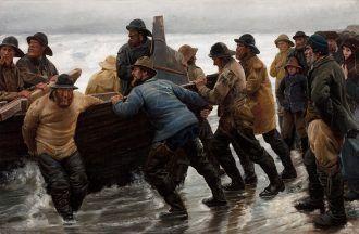 Michael Ancher: Fishermen launching a rowing boat. 1881   Skagens Kunstmuseer    Art Museums of Skagen