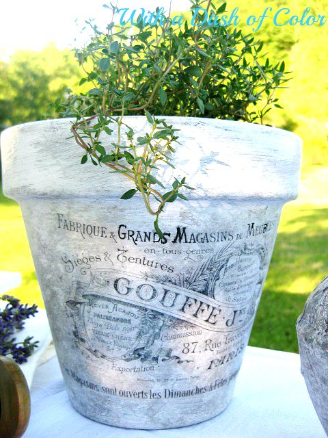 Decoupaged French Pots - How To From With A Dash Of Color Blog