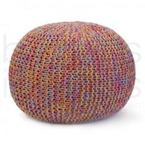 Luxury Multi Coloured Hand Knitted Pouf.