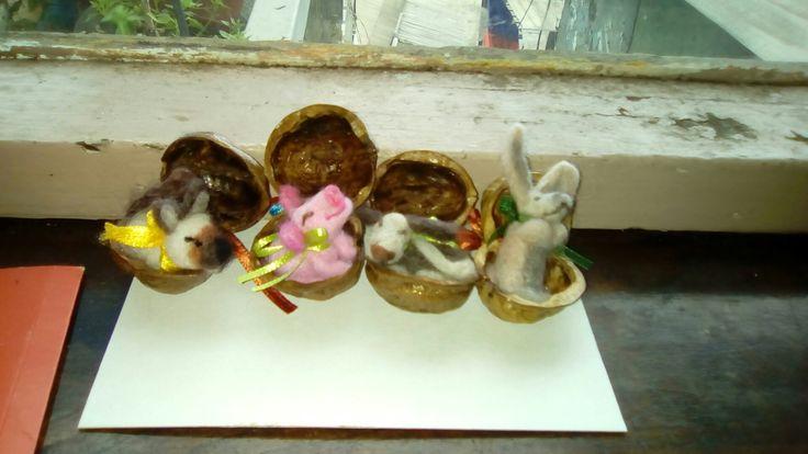 Animalitos de fieltro agujado  en miniatura