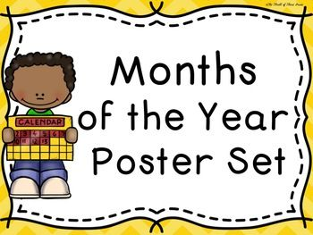 "This set is a great tool to help students learn the months of the year and also the number of days in each month! The set will definitely ""brighten"" up your classroom, as well! WHAT'S INCLUDED: -A mini-poster including the names of all of the months of the year -A title poster"
