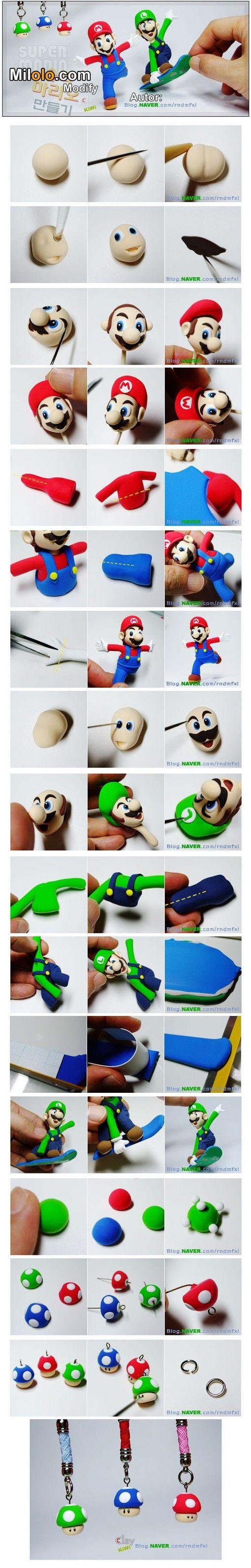 DIY Polymer Clay Super Mario Bros and Mushroom Tutorial