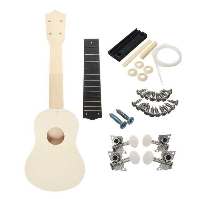 21 Pouce Démontées En Bois Ukulélé Guitare Uke Kit Avec Accessoires de Musique pour Guitare DIY pour débutants ou joueurs De Base