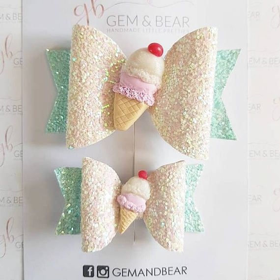 Check out this item in my Etsy shop https://www.etsy.com/uk/listing/524920380/ice-cream-hair-bow-hair-bow-glitter-bow