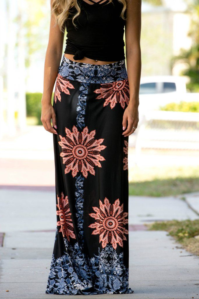 Printed Maxi Skirt Shop Simply Me Boutique Shop SMB – Simply Me Boutique