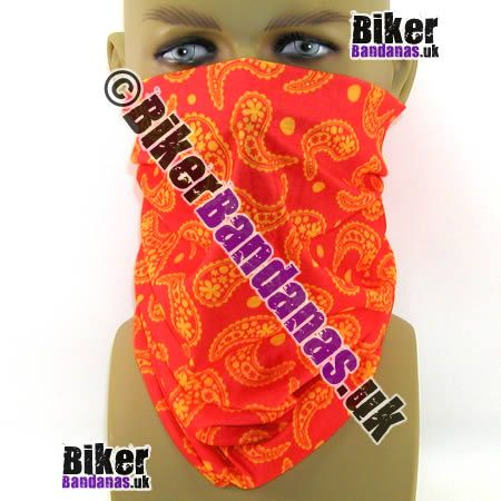 Red and Orange Paisley Spots Multifunctional Headwear / Neck Tube Bandana.  One of over 400 Styles for Men and Women