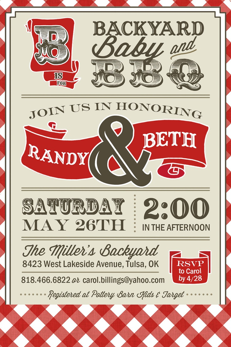 Great PRINTABLE   Couples BBQ   Baby Shower Invitation   Digital