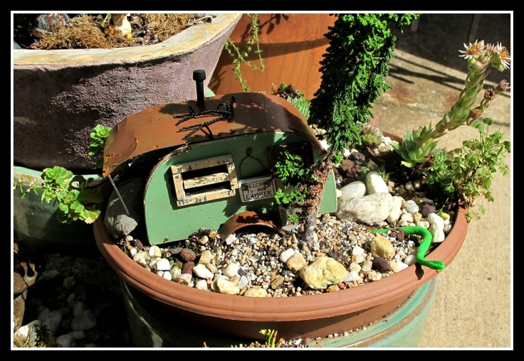 Camper With Giant Snake Miniature Container Garden My