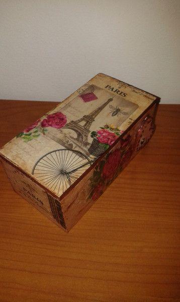 Oggettistica - scatola legno decoupage portagioie Paris - un prodotto unico di danif5 su DaWanda