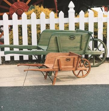 Our reproductions work as well or better than today's wheelbarrows. Based on a 19th-century design, they are they are reproductions of an old German version with evenly spaced slats.    	 Handmade the traditional way by Amish craftsmen  	 Fully functional for use in the yard or garden  	 Equally suited to show off flowers, crafts or collectibles  	 Choose from green or red stained or plain unfinished
