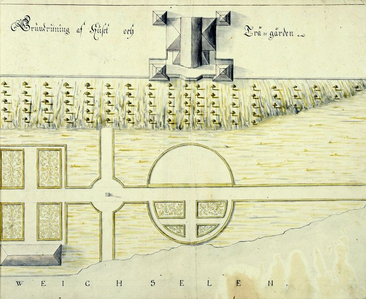 Palace of Stanisław Herakliusz Lubomirski in Puławy (built between 1671-1676 by Tylman Gamerski), plan of house and garden by Anonymous, 1706 (PD-art/old), Nationalmuseum in Stockholm