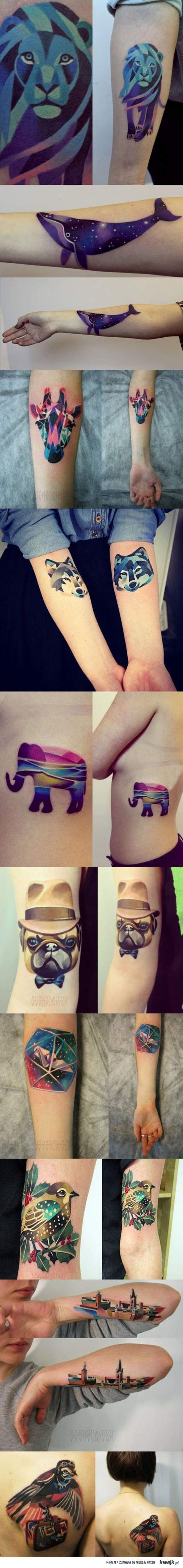 really cool geometric tattoos. Artist - Sasha Unisex. Follow her art on Instagram!