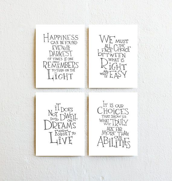 Set of 4 – Inspirational Art Prints, Scandinavian Minimalist Home Decor, Black White Harry Potter Movie Quotes, Bedroom Wall Art Dorm Decor