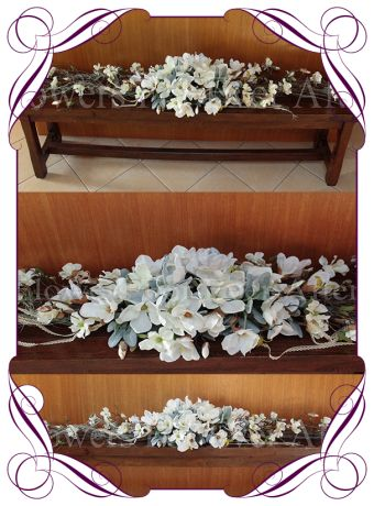 silk magnolia and vine rustic wedding garland, for hire melbourne, wedding decorations melbourne
