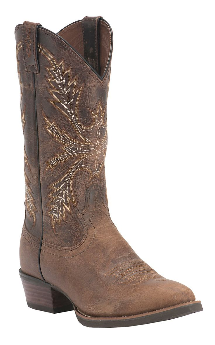 Justin Men's Silver Collection Antique Brown Buffalo Traditional Toe Western Boots