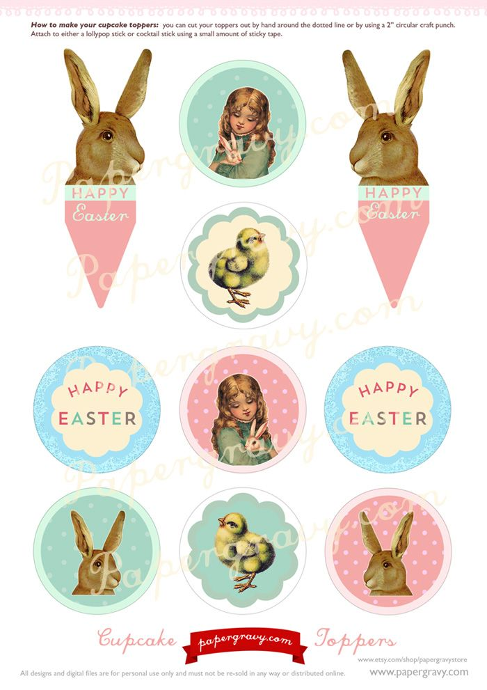 Easter printables - cupcake toppers