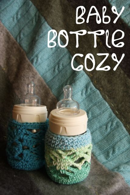 Crocheted: Bottle Cozies, Free Pattern, Crocheted Cozy, Crochet Baby Gift, Baby Crochet, Crochet Bottle, Bottle Cozy, Crochet Patterns, Baby Bottles